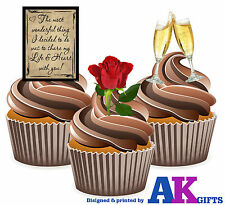 PRECUT Our Anniversary Love One Mix 12 Edible Cupcake Toppers Cake Decorations