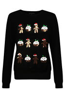 Heart And Soul Womens Sequin Ginger Pudding Christmas Jumper Ladies Sparkly Top