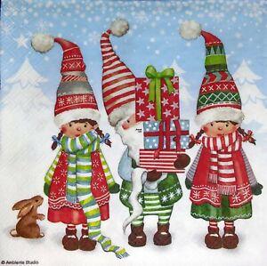 3 x Single Paper Napkins Decoupage Christmas Elfin Gnomes Dwarfs & Presents M160