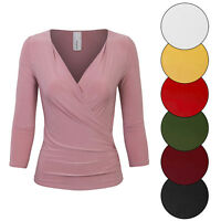 KOGMO Women's 3/4 Sleeve Side Wrap Ruched Shirred Slim Fit V-neck Top Shirts