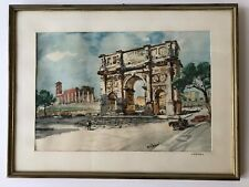 Vintage Framed Color Print Arch of Constantine Rome Italy Signed City Scene