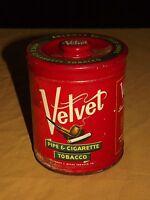 "VINTAGE 6"" VELVET PIPE & CIGARETTE TOBACCO TIN CAN"