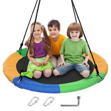 """Garden Giant Tree Swing Kids 40"""" Large Round Outdoor Saucer Adjustable Ropes"""