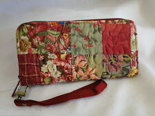 NEW DONNA SHARP WATERCOLOR PATCH ZIPPERED WALLET Rose Pink Green