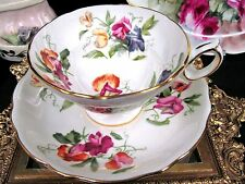 HAMMERSLEY TEA CUP AND SAUCER FLORAL SWEET PEA PATTERN TEACUP WIDE MOUTH