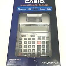 Casio Mini Desktop Printing Calculator HR-100TM Plus 2 Color AC Adapter 12 Digit