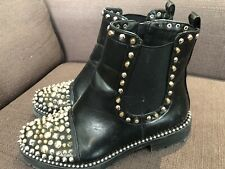 Woman's Black Ankle Boots With Gold Spike Details Size 38 In Good Condition