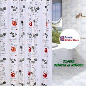 Shower Curtain Waterproof Anti Mould High Quality Cartoon Cats Prints 12 Hooks