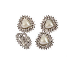 CraftbuddyUS 1pc  22x22mm Pearl & Diamante Heart Ribbon Slider Buckle, Prom