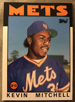 1986 Topps Traded Kevin Mitchell Baseball Card Mets Rookie (RC) #74T Mid-Grade