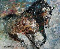 ANDRE DLUHOS ORIGINAL ART OIL PAINTING Horse Equine Equestrian Wild Stallion
