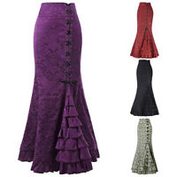 Ladies Fishtail Gothic Corset Skirt Long Mermaid Steampunk Vintage Victorian HOT
