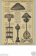 1880s PAPER AD Piano Oil Lamp Nuremburg Iron Work Silk Linen Shade Globes
