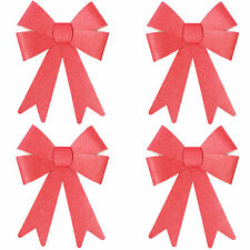 Christmas Glitter Bow Decorations - Pre-tied For Tree / Gifts / Table