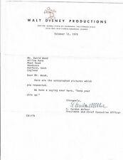 """E. Cardon """"Card"""" Walker Letter Signed 1979 / Autographed Disney President"""