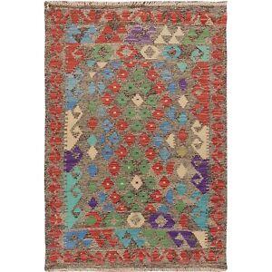 "2'9""x4' Colorful Reversible Afghan Kilim Flat Weave Wool Hand Woven Rug R57551"