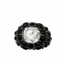 Kenneth Jay Lane KJL Swarovski Crystal & Cabochon Dome Ring in Black