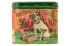 "Rare 1910s ""His Master's Choice"" paper label hinged 50 cigar tin in good cond."