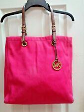 Michael Kors Jet Set Signature Canvas Tote Bag Pink Charm Leather Large XL Purse