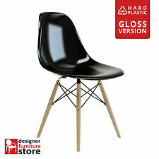 Replica Eames DSW Dining Chair with Beech Wood Legs - Black (ABS Plastic)