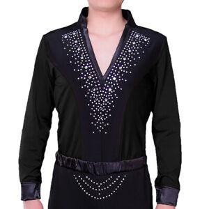 Men's Long Sleeve Salsa Jazz Latin Dance Shirt Tops Deep V Neck Sequin Costume