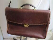 "JACK GEORGES brown grain leather messenger soft briefcase 16"""