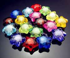Free TOP 50PCS Mixed color Star Cut Acrylic Rondelly DIY spacer Loose beads 8mm
