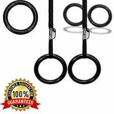 UK Warrior Fitness Steel Olympics Rings Gymnastic Pull Ups Crossfit Training Gym
