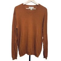 Pronto-Uomo Cotton Cashmere Sweater Size M Men's Long Sleeve V-neck Brown