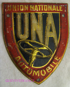 BADGE DE CALANDRE UNA UNION NATIONALE AUTOMOBILE en métal