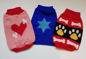 Knitted Dog Jumpers Sweaters (Clothing Coat Top) 4 sizes Pink Blue Heart Bones