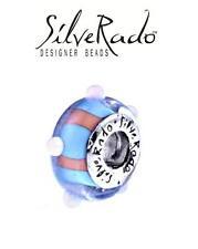 Silverado 925 Argento Blu & Corallo Riccio di Murano Bracciale con Charm Perline, Vacanza