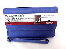 Mundi Women Faux Leather MY BIG FAT WALLET Ladies RFID Clutch Blue I754X