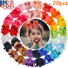 20pcs 3In Baby Bow Headbands Solid Ribbon Big Hair Bows for Infant Newborn Girls