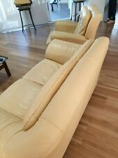 "3 PC  ""NATUZZI""  Leather Lounge / 2 Recliner Chairs"