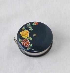 Vintage Floral Metal Celluloid & Cloth Tape Measure Sewing Notion Estate Find