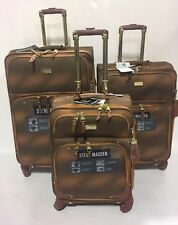 NEW 3PC STEVE MADDEN SPINNER SHADOW COLLECTION LUGGAGE SET $840 BROWN