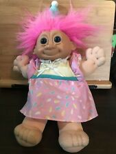 Vintage 90s Russ Soft Body Troll Doll 11in Pink Happy Birthday Girl