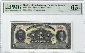 P-S1071 1915 1 Peso, Mexico, Revolutionary, Estado de Sonora, PMG 65EPQ GEM
