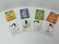 2003 Dr Seuss Cat in the Hat Silver Platted Ornaments Set of 4 Burger King Promo