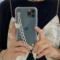 Luxury Clear Butterfly Chain Strap Phone Case Soft Cover For iPhone 12 11 8 X XS