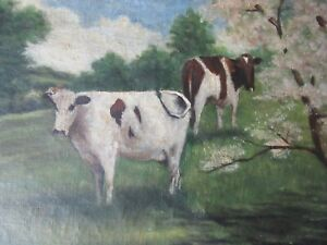 "Antique Original Oil Painting French Folk Artist Elizabeth Ames LeCount ""COWS"""