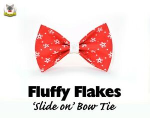 Cat bow 'Fluffy Flakes', slide on bow tie, red kitten bow