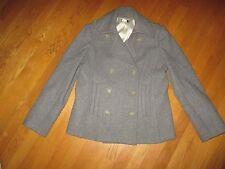Ladies J. Crew Gray 100% Wool Pea Coat Peacoat Size Large