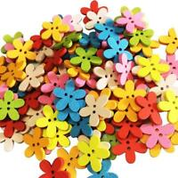 100pcs 2 Holes Decorative Flower Wood Buttons Fit Sewing Scrapbook DIY Craft