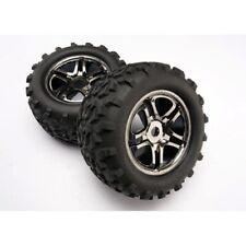 Traxxas 4983A Black-Chrome Wheels/Maxx Tires (2) 17-mm 17mm Hubs: Revo 3.3