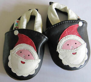 Baby Boys Girls Soft  Leather Shoes Black Red Santa Clause gift  first Christmas