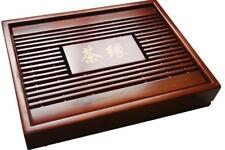 Chinese Kung Fu Tea Set Natural Wood Bamboo Tea Tray Rectangular Red&Brown Wood