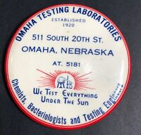 Omaha Nebraska Chemists Celluloid Paperweight Mirror Advertising Sign