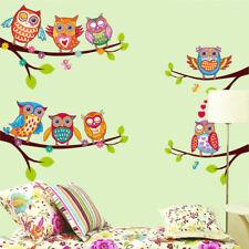 Sticker mural décoration murale autocollant 72*60 cm motif hibou chouette